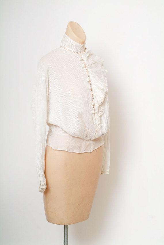 Antique Edwardian Blouse / Antique White Top / Vi… - image 2