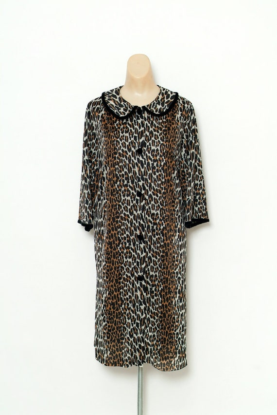 Vintage 60s Nightgown / 1960s Leopard Print Nylon