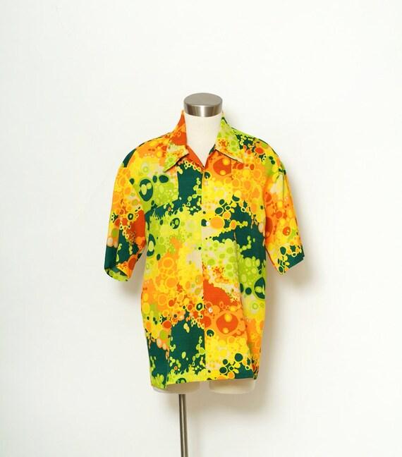 Shirt Tiki Shirt / Vintage 70s / Shirt Short Sleev