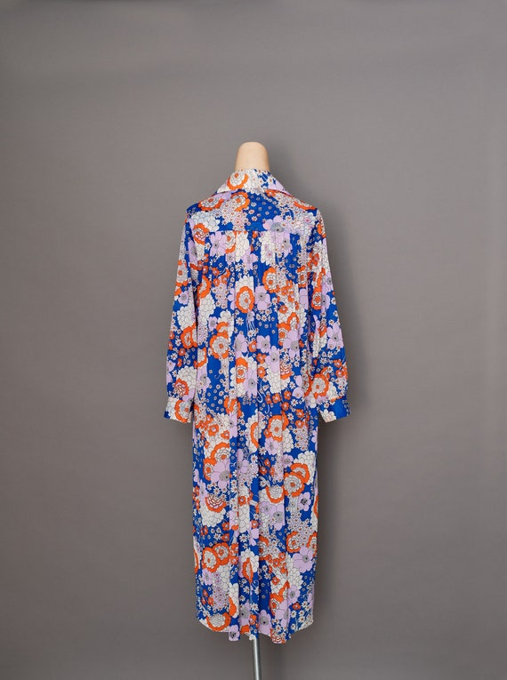 Vintage 1970s Floral Maxi Dress - 1970s collared d