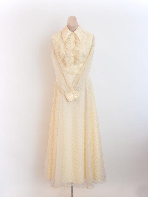 Vintage 1970s Yellow Maxi Dress   70s Dress  60s F