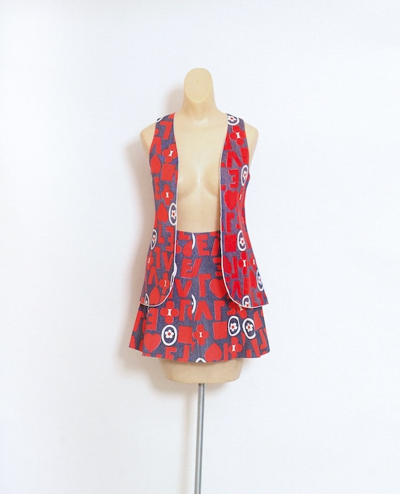 Vintage  60s Mod Dress - Vintage 60s Red Blue Dres