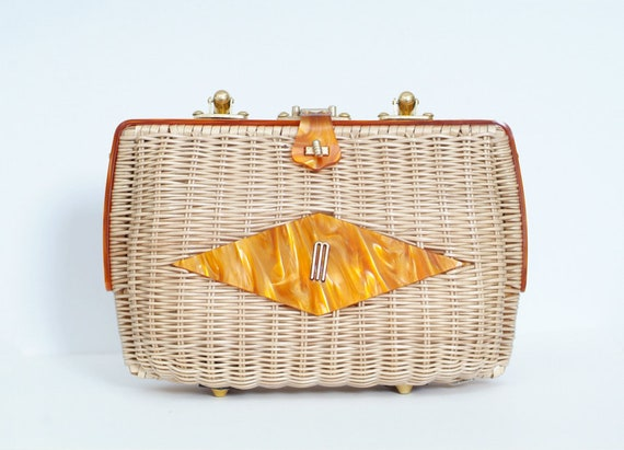 Vintage 1950 Purse Lucite Rockabilly Tiki Wicker /