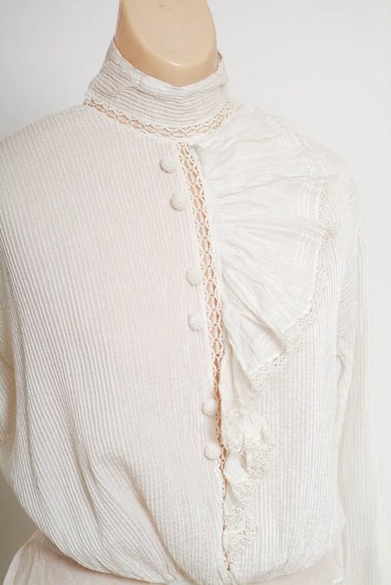 Antique Edwardian Blouse / Antique White Top / Vi… - image 4
