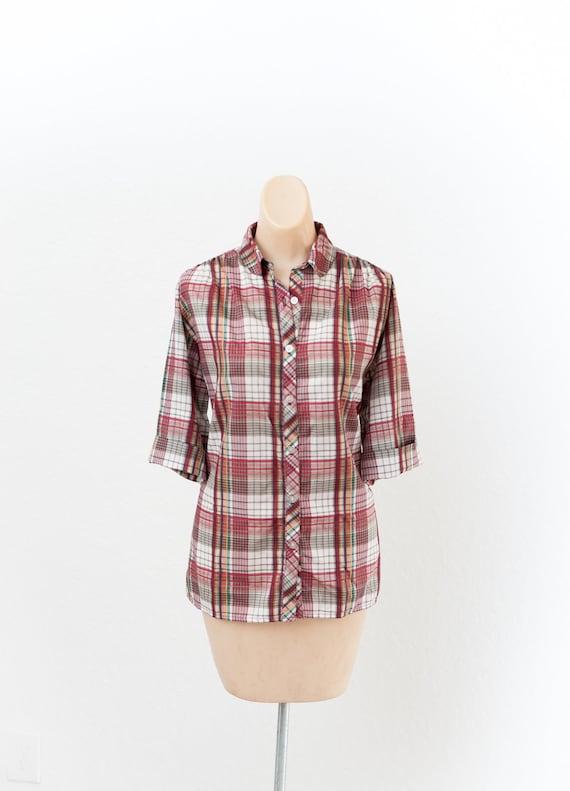 Vintage plaid 80s button up blouse - Vintage 80s p