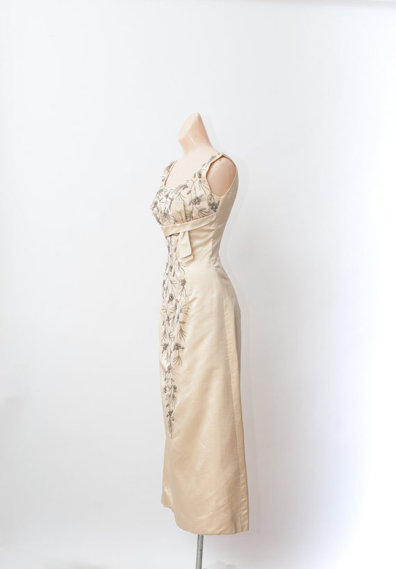 Vintage 50s gown, Beaded gown, Maxi evening dress… - image 2