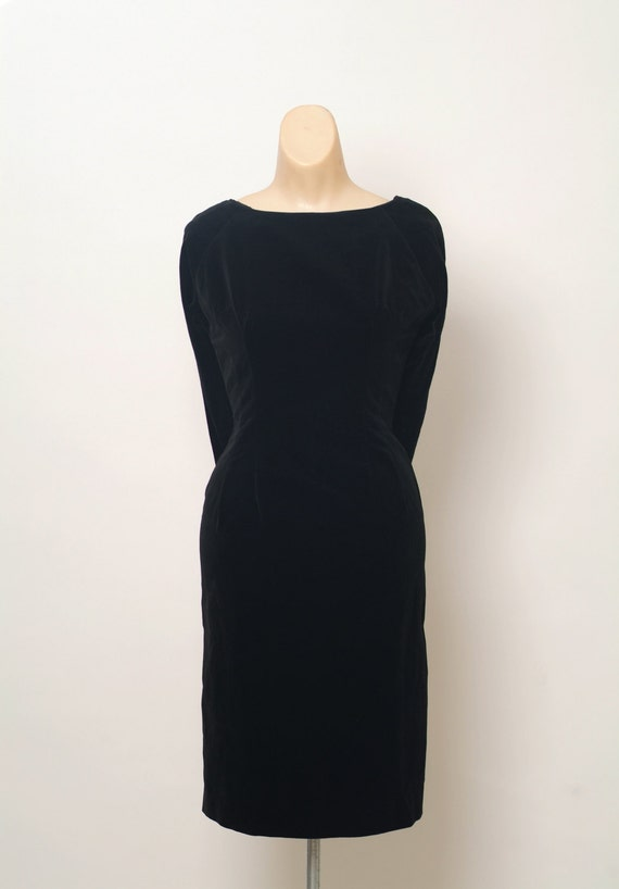 Vintage 50s Dress / Black Dress / Black Retro Cock