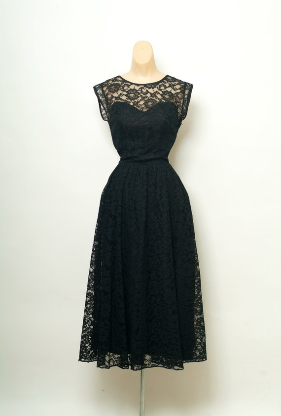 Vintage 80s Lace Dress   1980s Black Dress   Lace Party Dress  3d17dfdb9