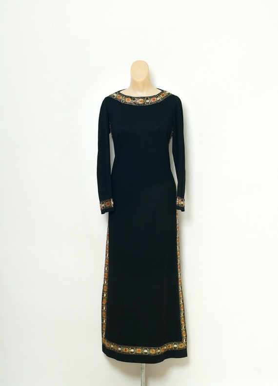 vintage 60s dress   1960s Dress   Maxi dress   Black Gold  4de08f159