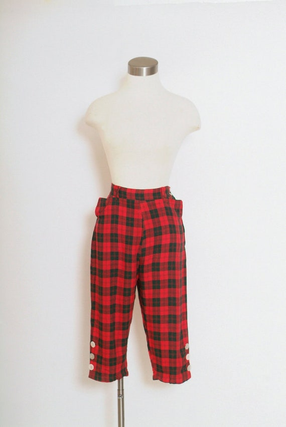 Vintage 50s  tartan plaid pedal pushers / Clam Dog