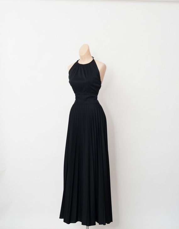 70s Black dress / Vintage dress / Vintage Maxi Dre