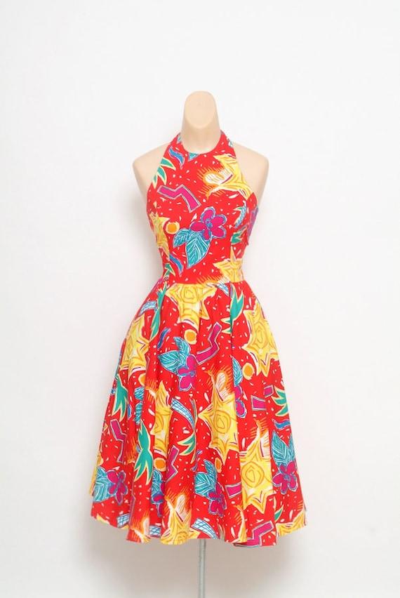 Vintage 80s halter dress / 80s Dress ,Sundress, 80