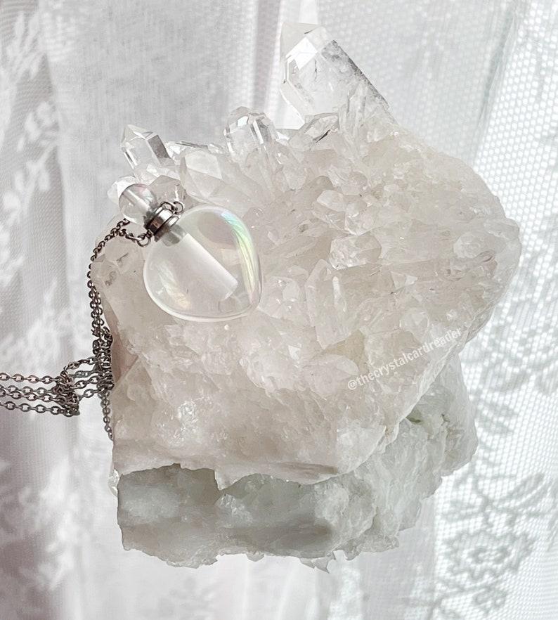 Angel aura quartz heart essential oil necklace