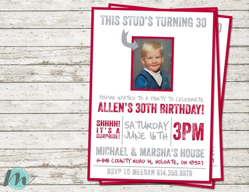 Surprise 30th Birthday Invitations Masculine Stud