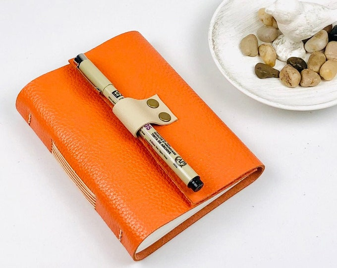 Handbound Leather Journal, Tangerine with Blank Pages