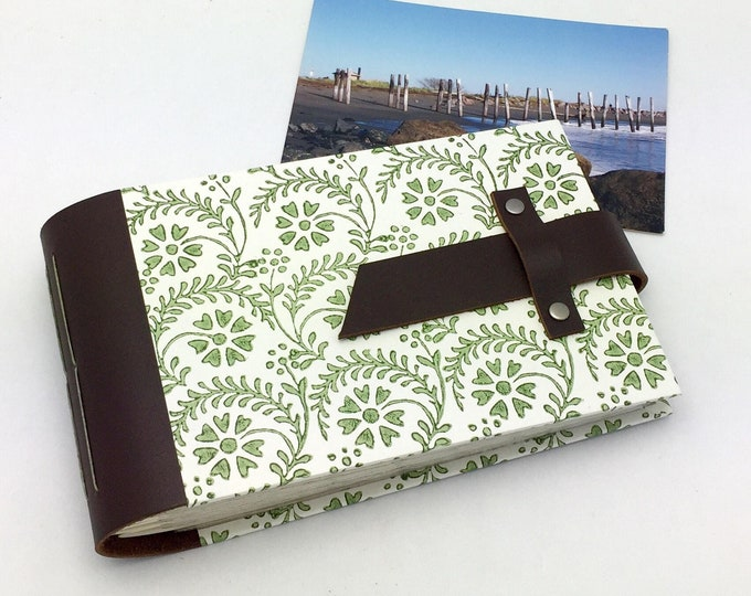 Featured listing image: Mini Photo Album - Leather and Tuscan Print - holds 48 4x6 photos