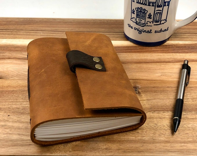 Handbound Journal, Chestnut Leather with Unlined Pages, Monogram Available