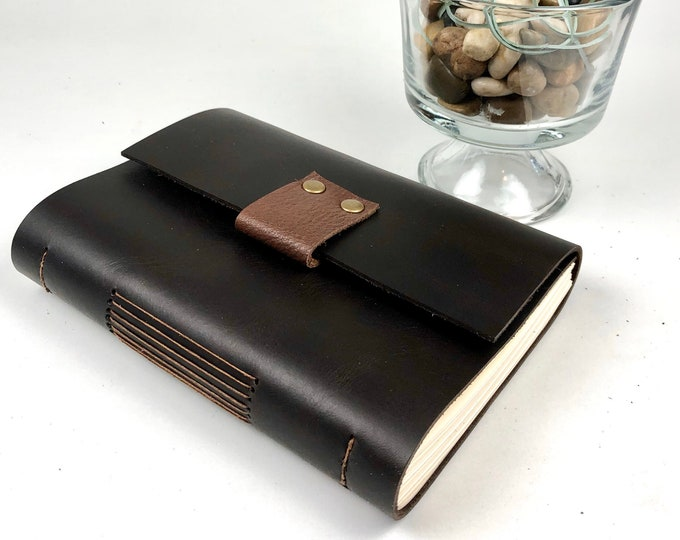 Lined Leather Journal in Warm Black Handbound, Monogram Available