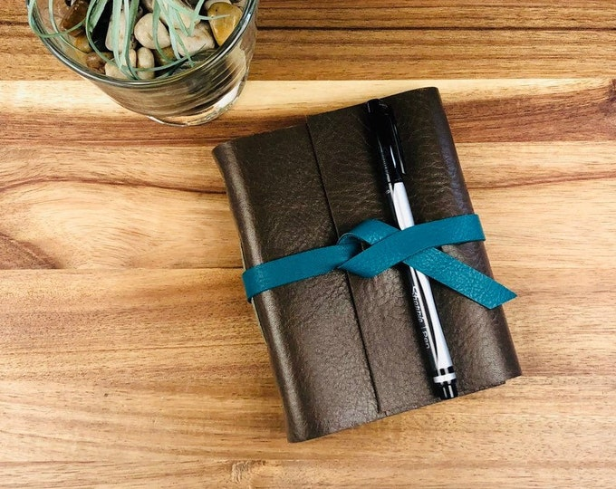 Handbound Leather Journal, Rich Brown Leather with Blank Pages, Monogram Available