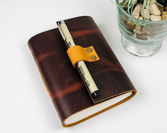 Handbound Leather Journal, Dark Red with Unlined Pages, Monogram Available