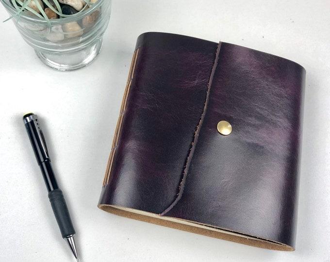 Handbound Leather Sketchbook, Purple, Monogram Available