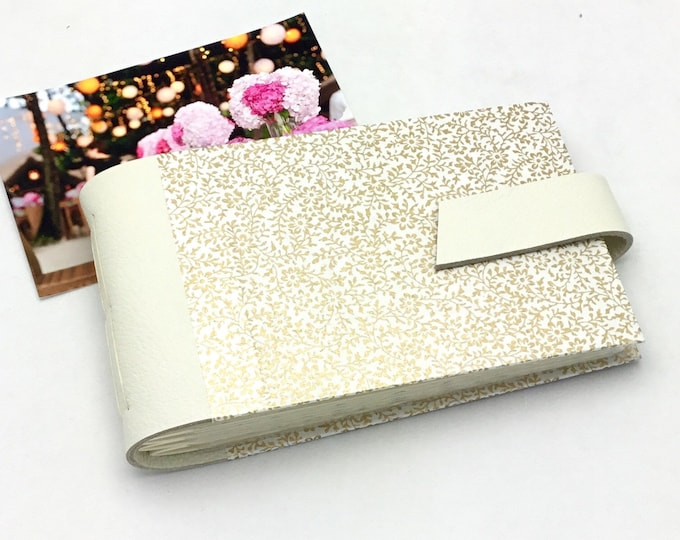 Featured listing image: Wedding Mini Photo Album - Ivory Leather and Gold - Personalize It