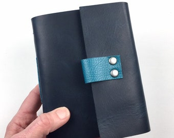 Handbound Leather Journal, Parisian Blue with Blank Pages