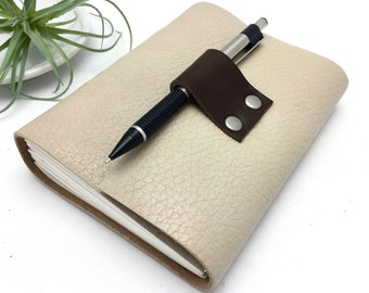 Small Lined Leather Journal in Oatmeal with Rainbow Stitching - In Stock