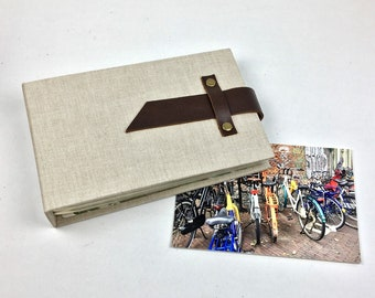 4x6 Mini Photo Album with Sleeves, Bisque Canvas with Leather Strap / Title Card Available