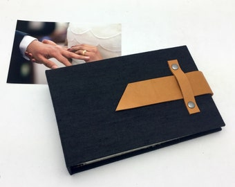 Mini Photo Album, Black Canvas and Leather, holds 36 4x6 photos, In Stock