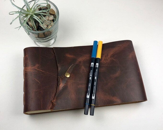 Leather Art Journal, Sketchbook, Photo Album in Deep Red Leather, OOAK, Monogram Available