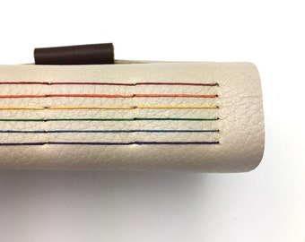 Leather Journal in Oatmeal with Rainbow Stitching - In Stock
