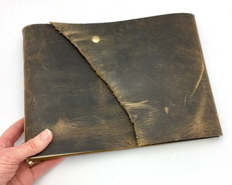 OOAK Large Leather Art Journal / Sketchbook, Distressed Brown - In Stock