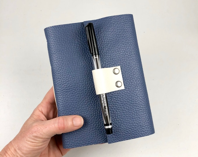Handbound Lined Journal, Periwinkle Leather