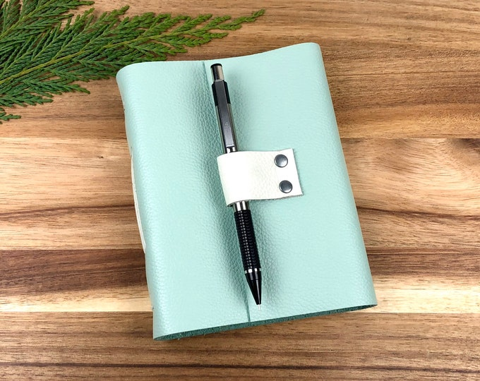 Handbound Leather Journal, Duck Egg Blue with Blank Pages