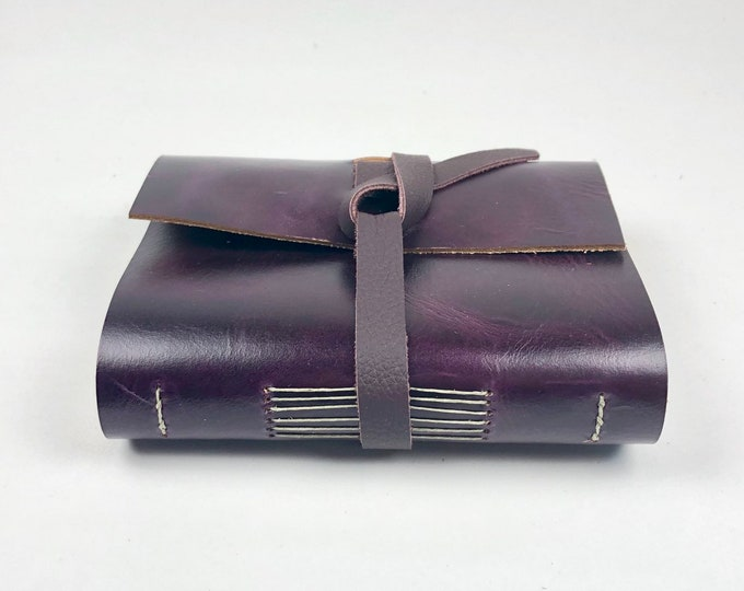 Handbound Leather Journal, Amethyst Purple with Blank Pages, Monogram Available