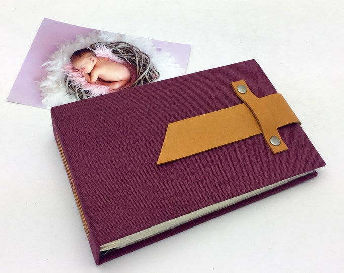 Mini Photo Album with Sleeves and Leather Strap / Title Card Available