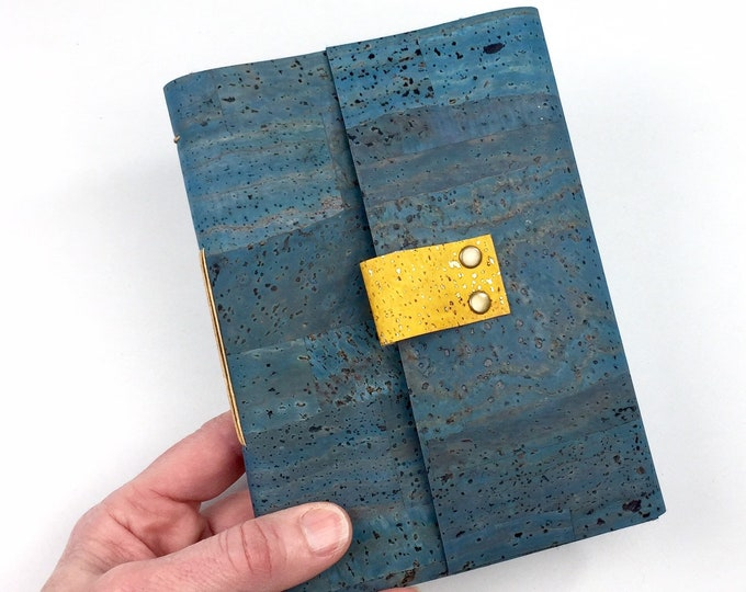 Handbound Vegan Journal, Lined, Teal Cork, Leather Alternative