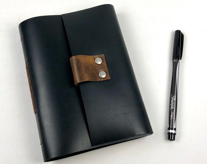 Lined Black Leather Journal, Handbound, Monogram Available