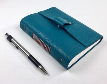 Handbound Leather Journal, Teal with Blank Pages, Cantaloupe Stitching