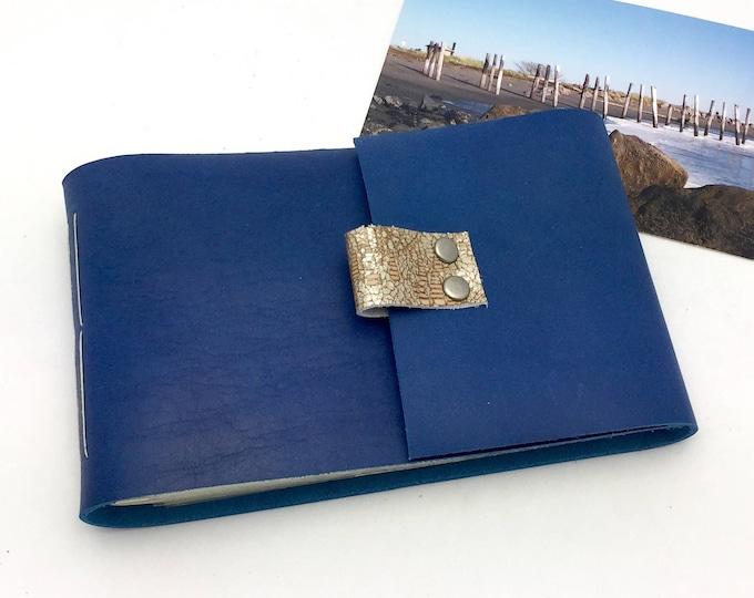 Leather Mini Photo Album - Sapphire Blue - In stock for 4x6 photos