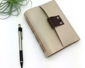 Small Leather Journal in Oatmeal with Rainbow Stitching - In Stock