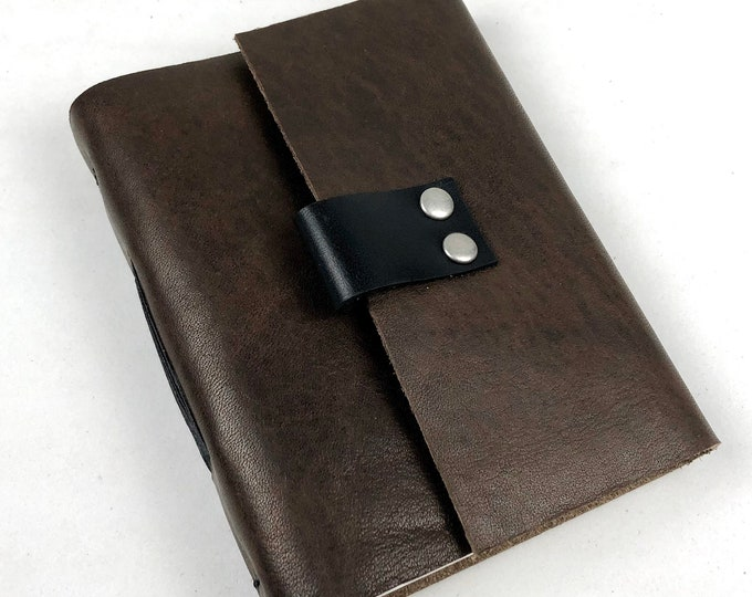 Brown Leather Journal with Blank Pages, Small Sketchbook