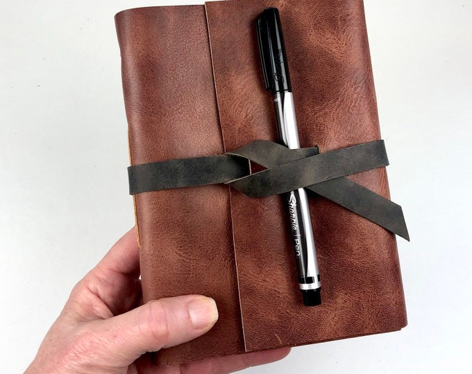 Lined Journal Hand Bound in Pinot Leather