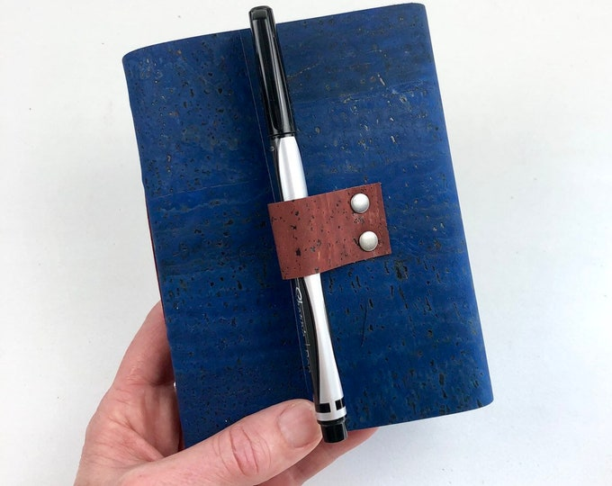 Handbound Vegan Journal, Blue Cork and Blank Pages