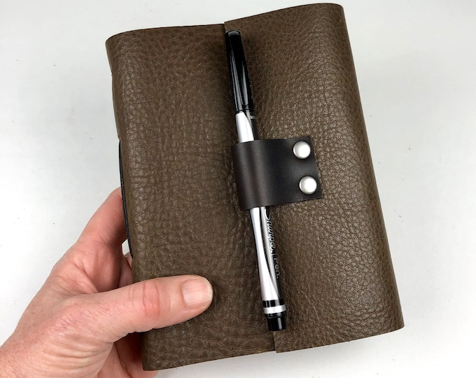 Handbound Lined Journal in Brown Pebbled Leather