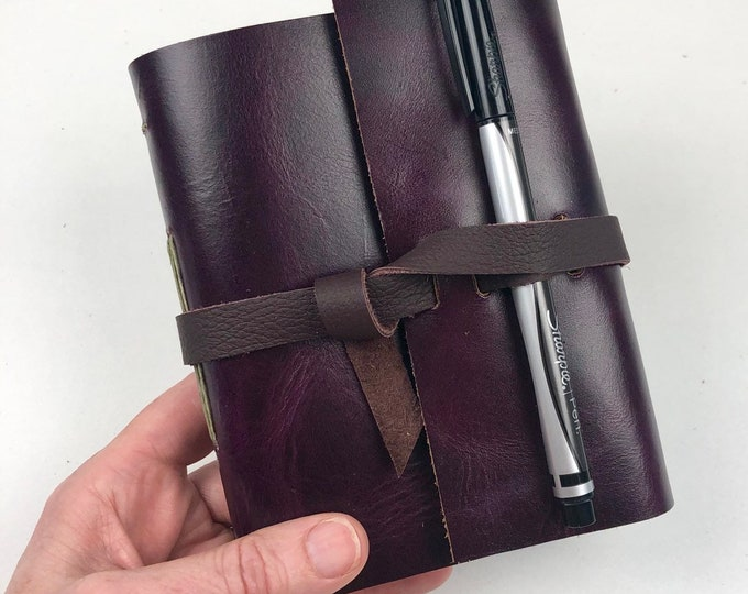 Handbound Leather Journal, Amethyst Purple with Blank Pages