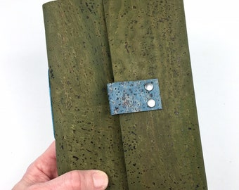 Handbound Vegan Journal, Lined, Green Cork, Leather Alternative