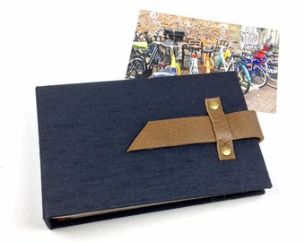 4x6 Black Canvas Mini Photo Album with Sleeves and Leather Strap / Title Card Available