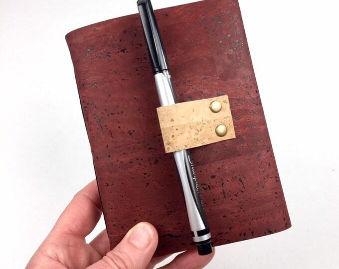 Cork Wine Tasting Notebook, Brick Red, Vegan-Friendly